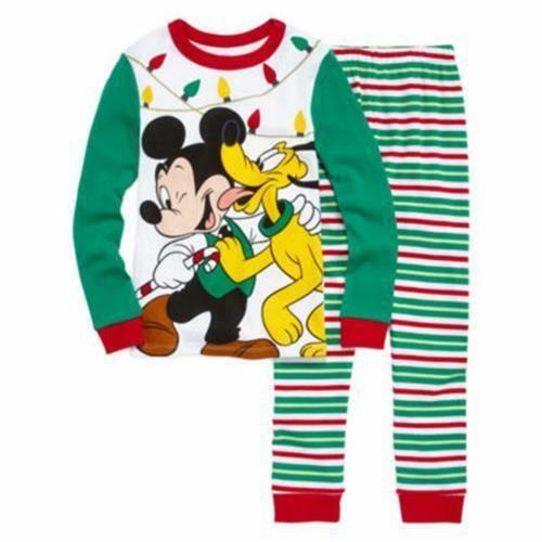 DISNEY STORE Boys/' 4 Mickey Mouse /& Pluto Holiday 2 Pc Pajama Set NWT