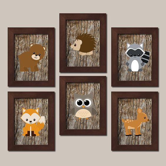 Hey, I found this really awesome Etsy listing at https://www.etsy.com/listing/210520434/woodland-nursery-art-animals-rustic