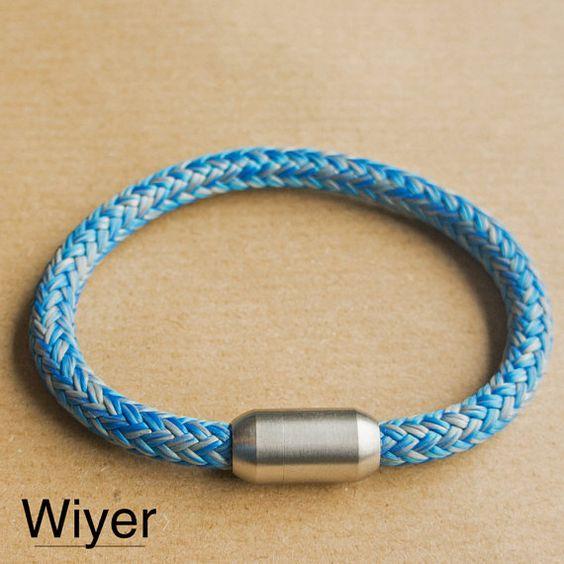 Blaues Seil Armband | Mit Edelstahl Magnetverschluss | Segeltau Armband | Herren und Frauen Armband