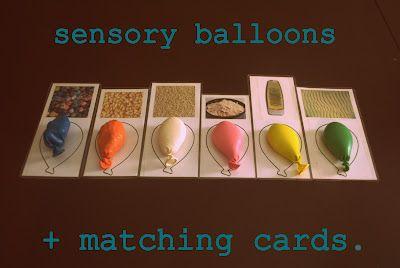 Globos sensoriales con tarjetas pares. ¿Que tiene dentro el globo? Encuentra su par en la tarjeta. Un buen ejercicio sensorial y fantástica manera de mantenerlos entretenidos.