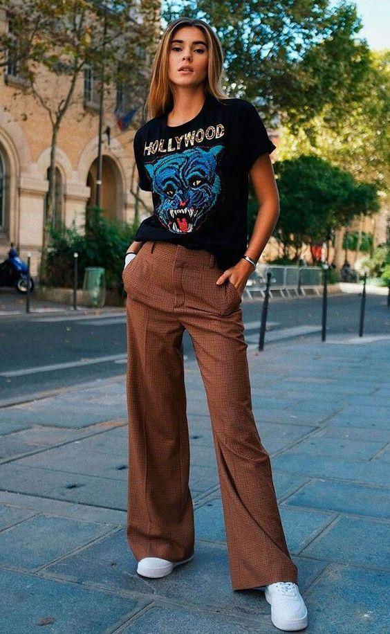 Vintage brown pants and black tee
