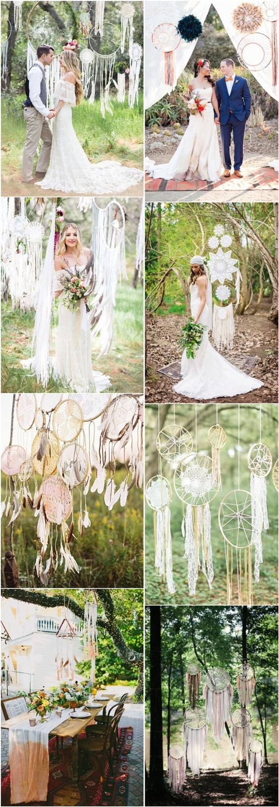 boho wedding ideas- bohemian dreamcatcthers wedding decor ideas