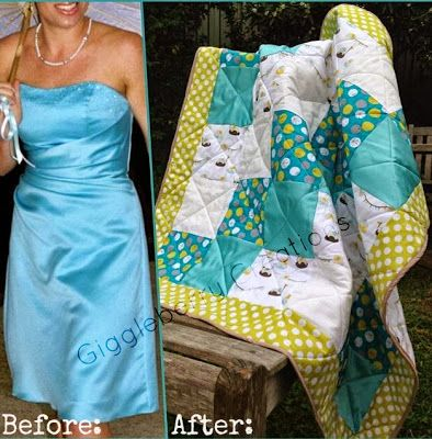 Giggleberry Creations!: Bridesmaid Dress to Baby Blanket for the brides first baby!