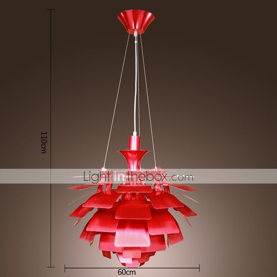 Red Pendant Light in Artistic Floral Lampshade