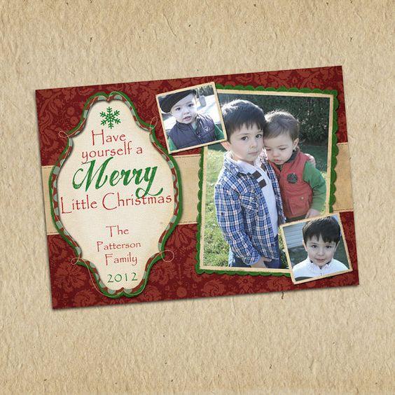 Custom Photo Christmas Card  5x7 printable by LilMonkeysDesigns, $13.00