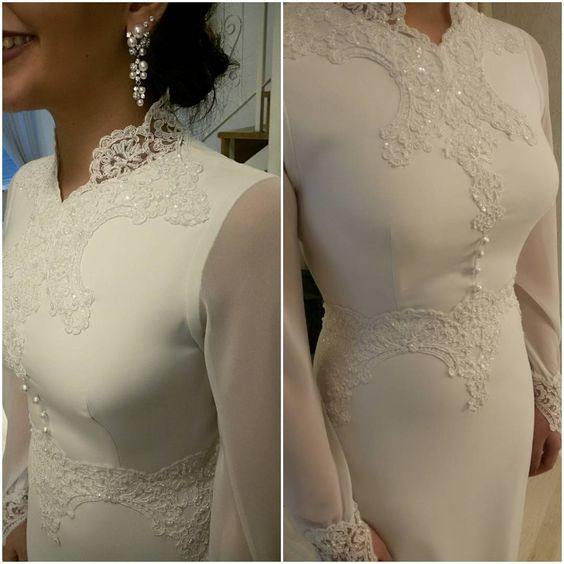 Long sleeve modest wedding dresses are great for formal Church weddings. You can have custom #weddingdresses like this created for a bride of any shape or size.  Contact us directly for pricing.