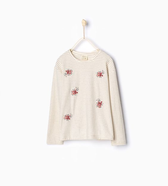 Striped and embroidered top-Long Sleeve-T-shirts-Girl | 4-14 years-KIDS | ZARA Latvia
