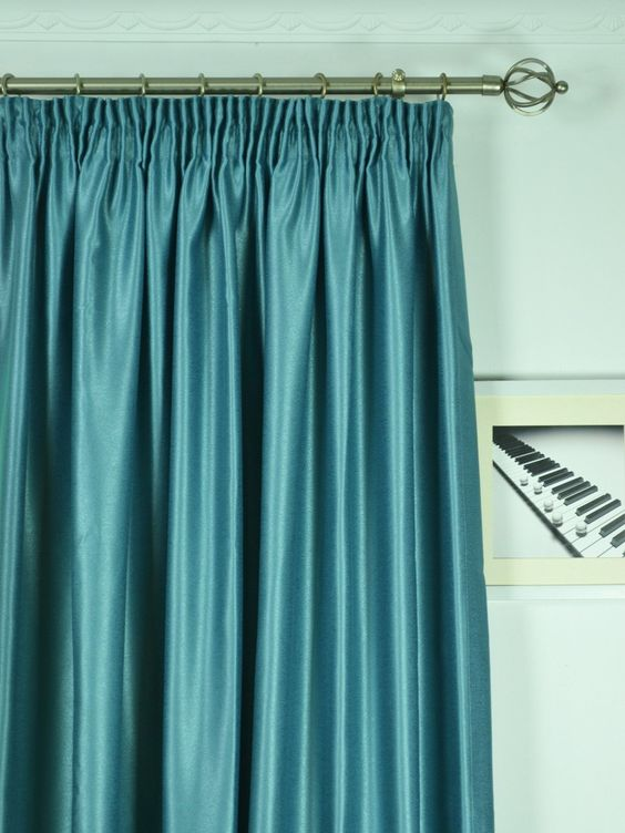 Extra Wide Swan Gray and Blue Solid Pencil Pleat Curtains 100 ...