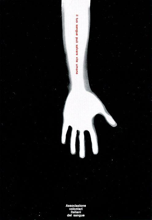 Claudio Silvestrin (w/ AG Fronzoni). AVIS Monza (Blood Donation), 1971, poster.