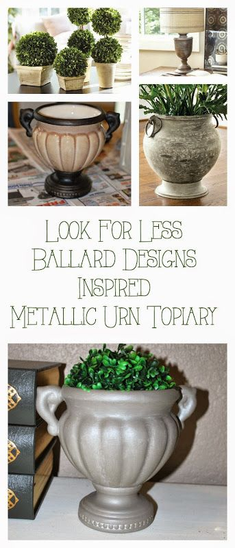 DIY Ballard Design Topiary Inspired Urn With Metallic Shimmer Accents