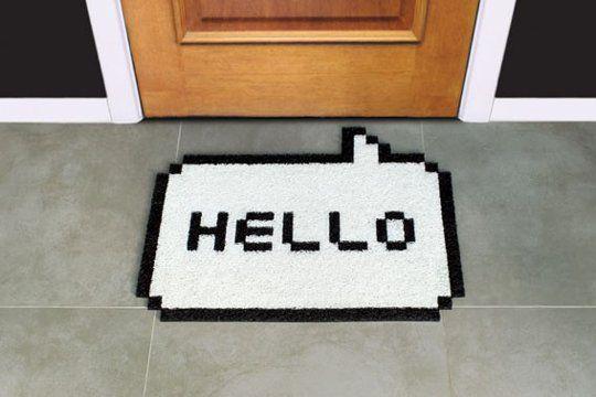 8-Bit Hello White Doormat greets in geek! #doormat #8bit #geek