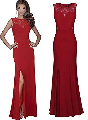 MISSMAY Women&-39-s Long Lace Slit Ball Gown Xmas Cocktail Party Dress ...