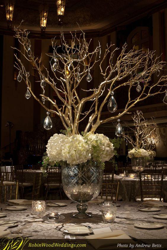 Manzanita branches and white hydrangeas on