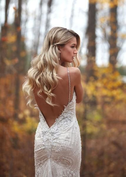 Marisa Bridals 111. A delicate lace fitted bridal gown with beaded details throughout the dress with thin straps and a low back with ruched back. Please allow 1