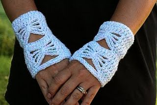 Free Crochet Taming The Butterfly Wrist Warmer Pattern.