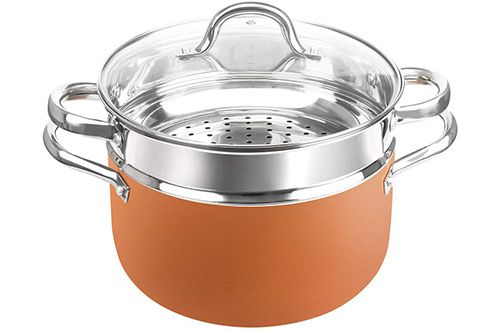 8 Shineuri Nonstick Copper Casserole Pot With Stainless Steel Steamer Insert Stainless Steel Steamer Stainless