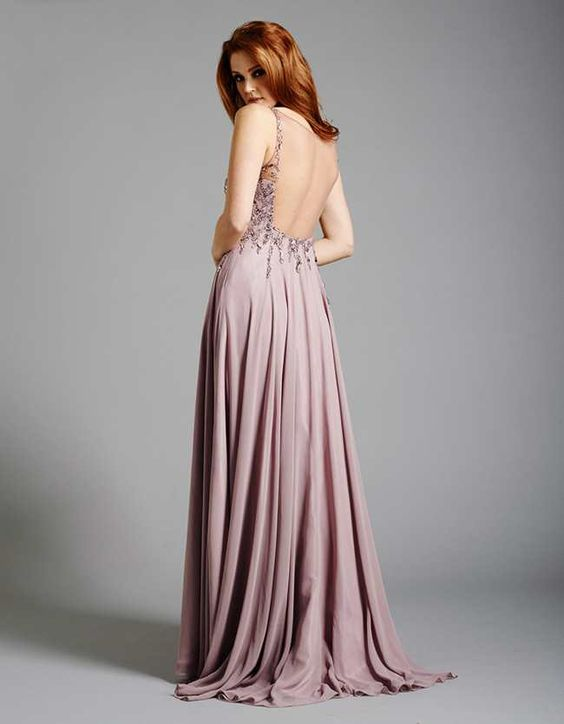 Dusty Pink Backless Prom Dresses 2015