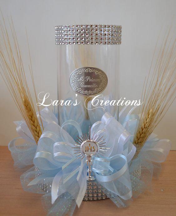 First communion centerpiece centerpieces communion and mesas - Simple baptism centerpieces ...