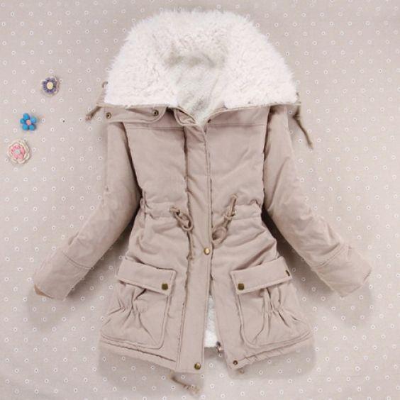 Stylish Turn-Down Collar Long Sleeve Drawstring Fleece Lined Coat ...