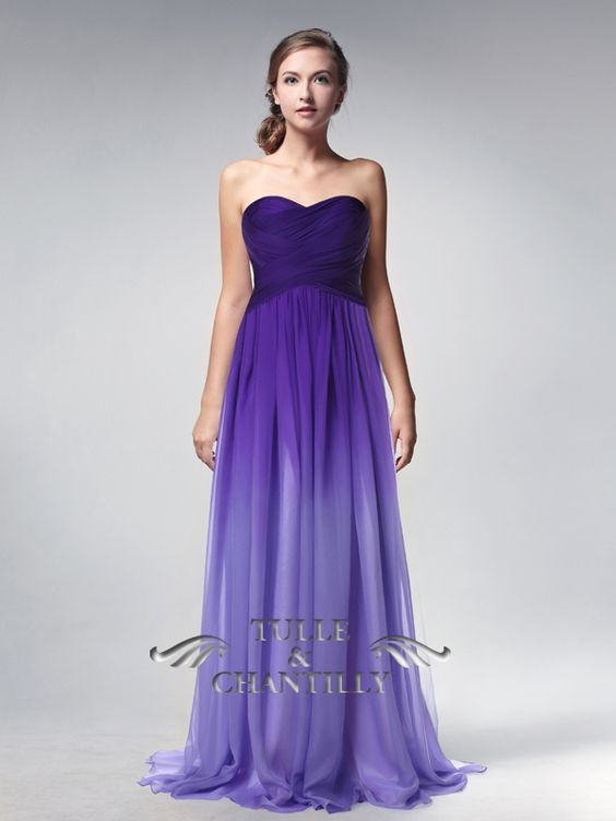 Purple ombre sweetheart neck long chiffon prom dress for Purple ombre wedding dress