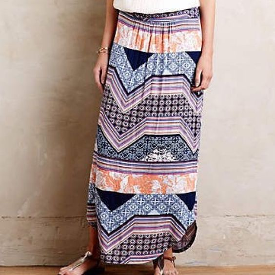 "NWT Anthropologie Maeve Couloir maxi skirt Rayon & Spandex. Ruched waist. 40"" in length. Geometric and floral print. New. Only worn to try on. Anthropologie Skirts Maxi"