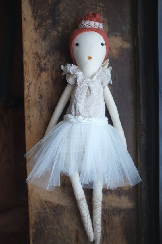 Handmade Rag Dolls by Gaiia Kim, One-of-a-Kind Cloth Doll, Ballerina No 51