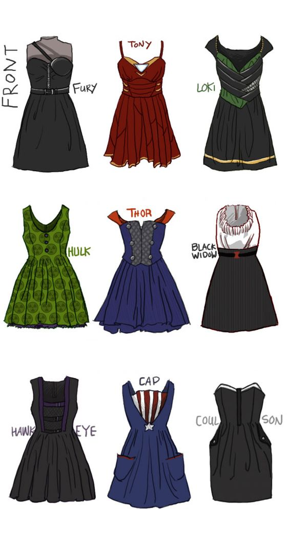 The complete thing of Avengers dresses. Ooooh, I want!