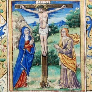 Illuminated Manuscript Leaf, The Crucifixion. Find this and other books and manuscripts for sale on CuratorsEye.com.