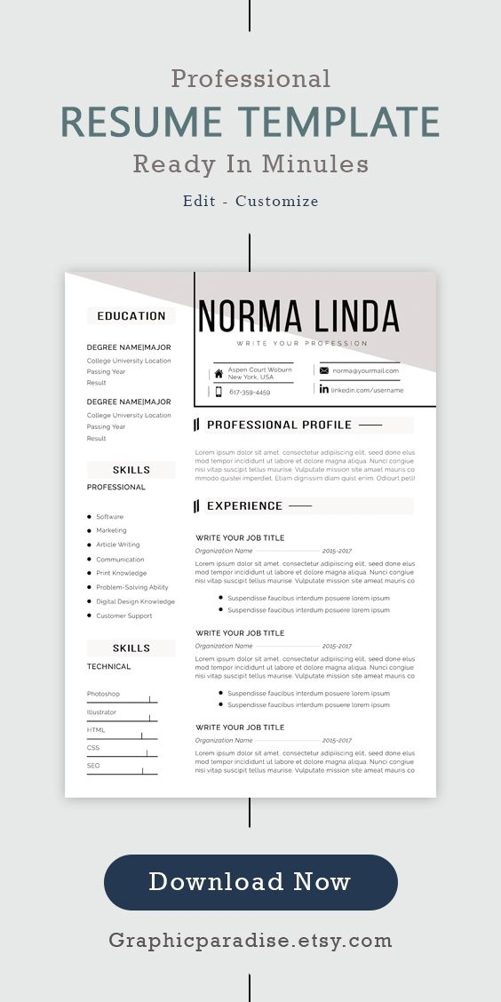 Professional Resume L Cv Template I Instant Download Ms Word Etsy Resume Cover Letter Template Resume Template Professional Cover Letter For Resume