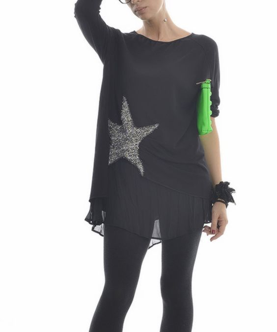 Another great find on #zulily! Zed Collection Black & Gray Star Layered Tunic by Zed Collection #zulilyfinds