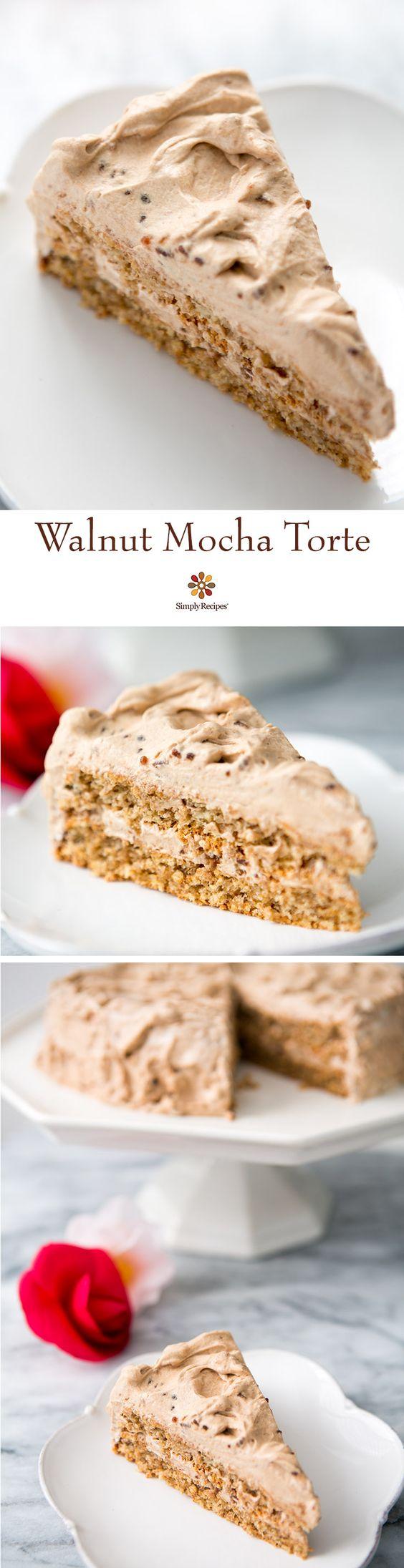 Walnut Mocha Torte ~ German-style torte made with ground walnuts ...