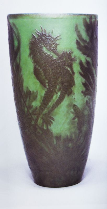 Vase by Emile Galle, c. 1900.  Hippocampe, opaque green glass wheel-carved with seahorses and underwater plants.