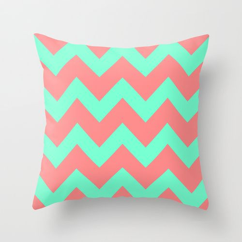 Chevron Coral Red Mint Green Throw Pillow Green, Mint green and Beautiful homes