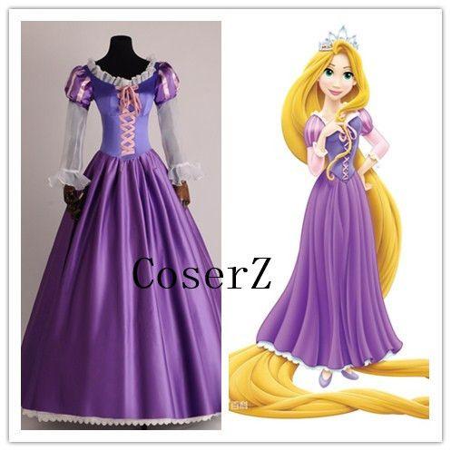 New Women Halloween Cosplay Princess Rapunzel Tangled Adult Costume  Customized