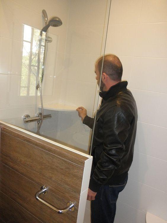 Mampara de ducha de obra con cristal ba os mis trabajos - Banos con ducha de obra ...