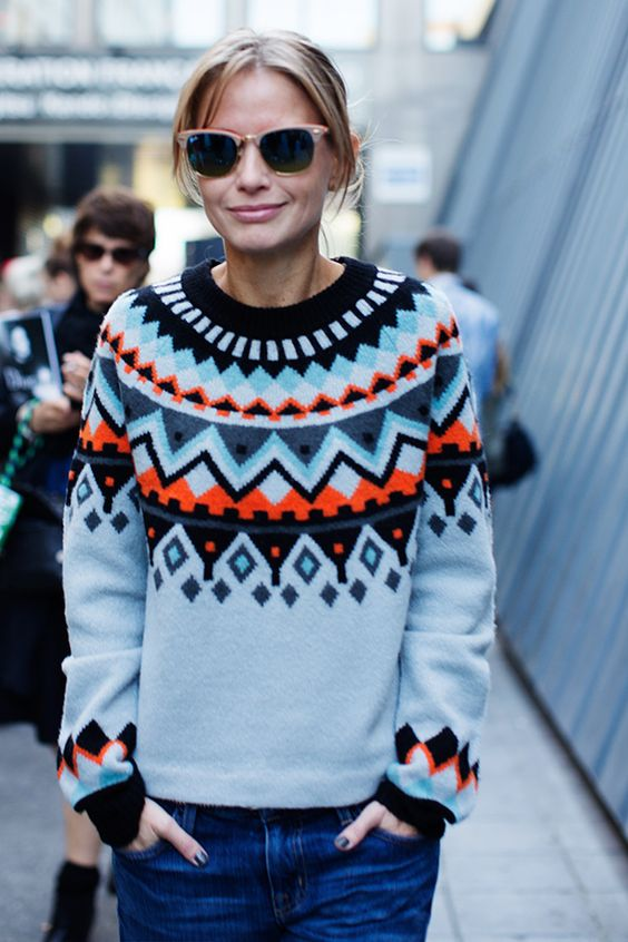 red, white and blue- patterned sweater: