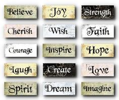 Grungy Inspirational Words - Charms - Sampler - Digital Collage ...
