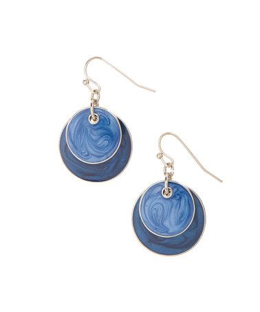 Look what I found on #zulily! Blue & Silvertone Circle-Overlay Drop Earrings #zulilyfinds
