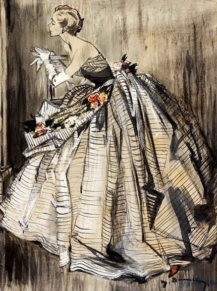 Evening gown by Lanvin; illustration by Jean Demarchy for Harper's Bazaar, c.1955 or 1952    Is she wearing books?