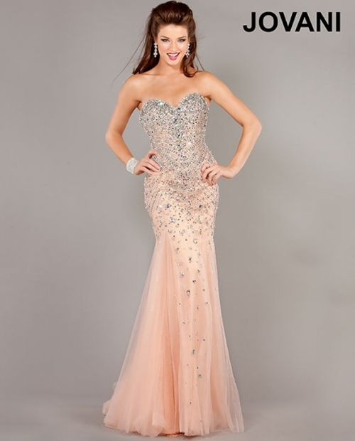 Jovani Prom Dress 6837 Blush Jovani long mermaid gown features a ...