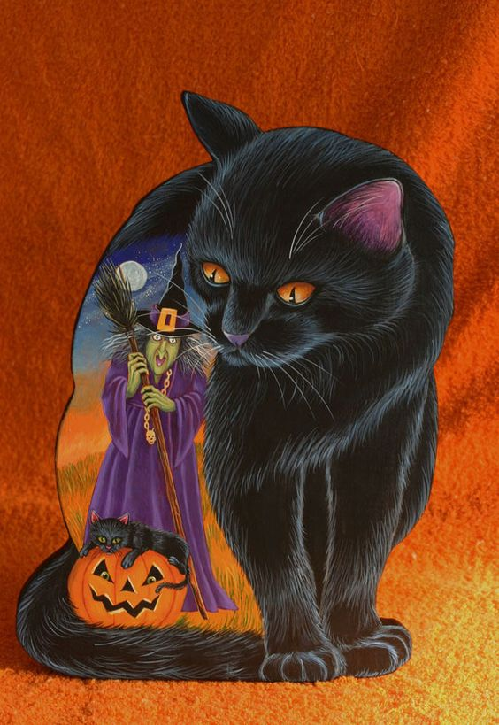 OOAK HALLOWEEN FOLK HANDPAINTED WOOD DUMMY BOARD WITCH BLACK CAT MOON JOL  #folkart