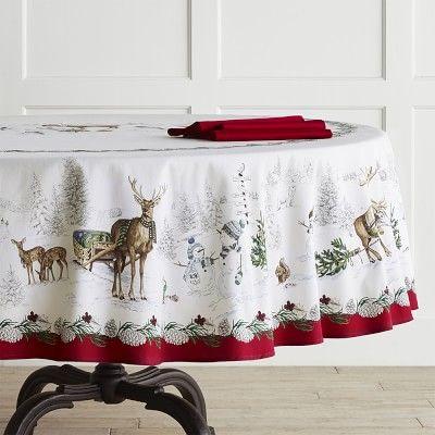 Snowman Round Tablecloth Table Cloth Christmas Table Cloth Round Christmas Tablecloth