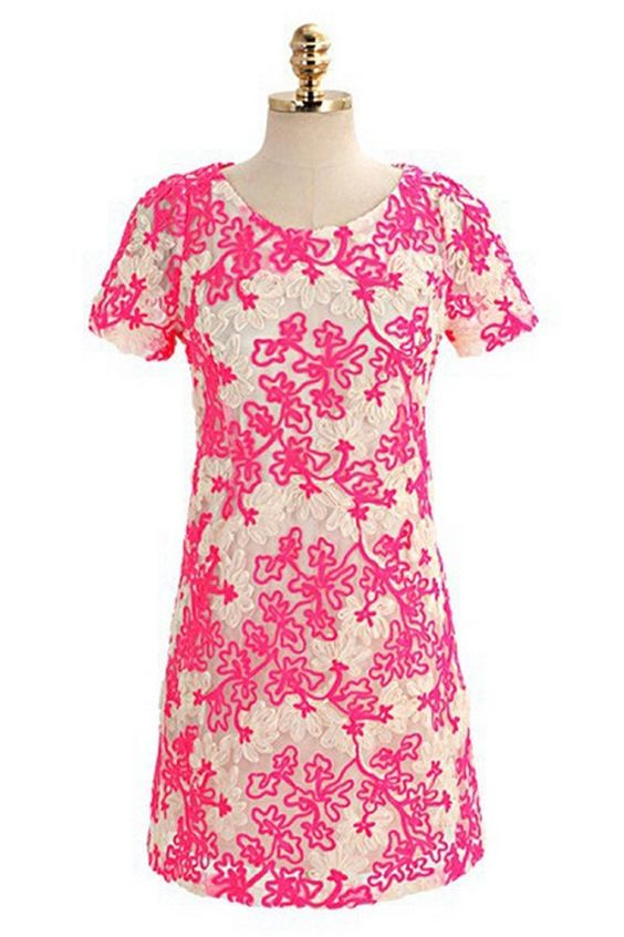 Sweet Floral Embroidered Shift Dress