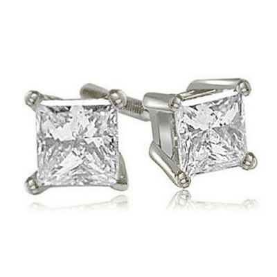 14KT White Gold Princess Cut Diamond 4-Prong Basket Stud Earrings (0.25 CT.TW)