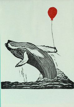 Cute whale with red balloon art work