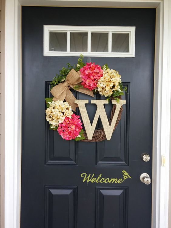 Summer Wreath Monogram Wreath Hydrangea Wreath Front Door Wreath