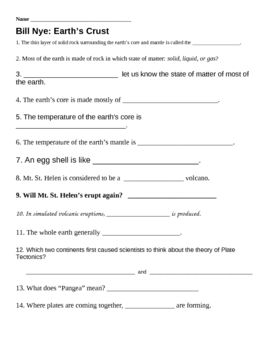 Worksheets Inside Planet Earth Video Questions Key mountain formation student and bill nye on pinterest earths crust worksheet