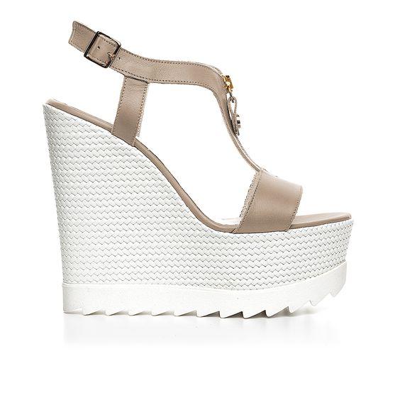 Code: 850G04 Heel height: 13 cm www.mourtzi.com #wedges #whitesole #zip