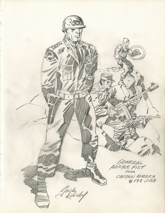 Kirby - General Argyle Fist with Captain America Comic Art