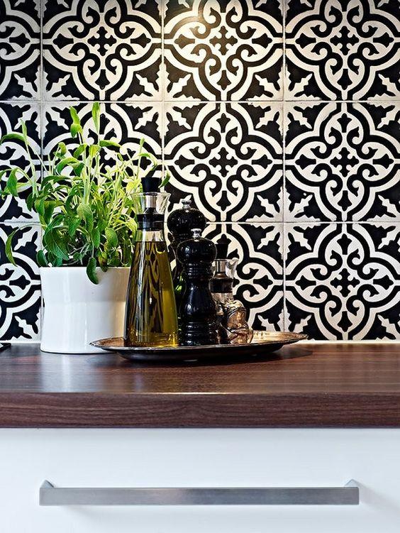 inspiring moroccan tile backsplash ideas black white tiles